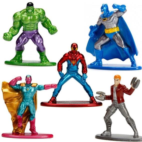 Boneco Nano Metal Figs Herois Dc Vingadores Marvel X-men