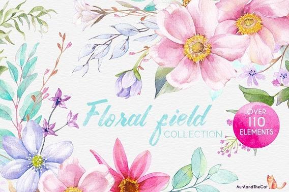 Kit Imprimible Floral Acuarela Imagenes Fondos Marcos Mira