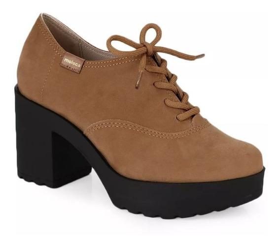 Sapato Feminino Oxford Moleca Salto Alto Nobuck Camel