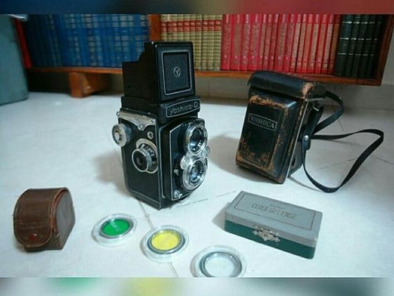 Câmera Fotográfica Yashica D Anos 50/60 Funcionando + Lentes