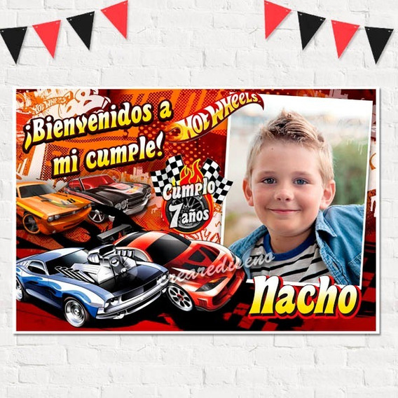 Cumpleaños Hot Wheels Cartel De Bienvenida Con Tu Foto