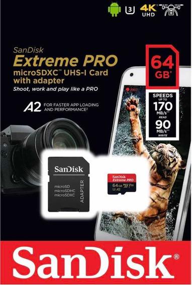 Memory Card Sandisk Extreme Pro 64gb Micro Sdxc