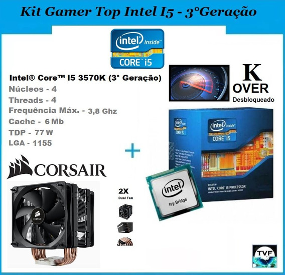 Kit Gamer Processador Intel I5 3570k + Cooler Corsair A70
