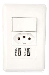 Interruptor E Tomada Com 2 Portas Usb Carregamento Rápido