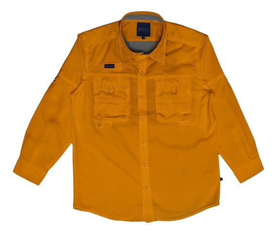 Camisas Ke Manga Larga Mostaza Talla 4 Niños #jl01-2859