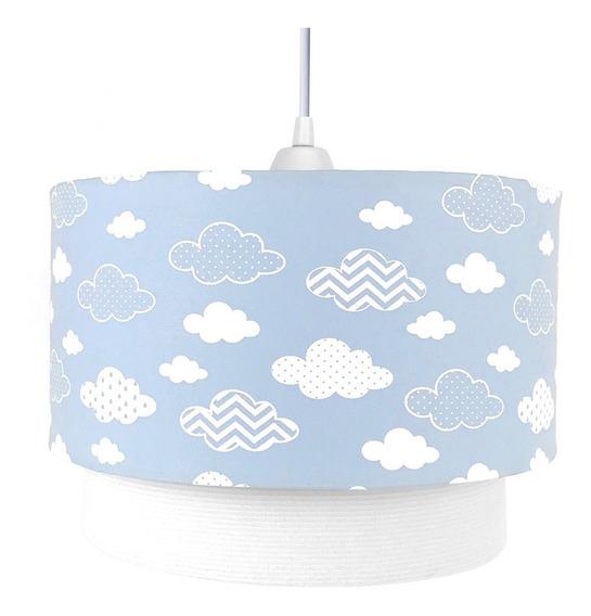 Pendente Nuvem Azul Chevron Nuvem Bebê Luminária Lustre Teto