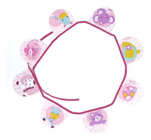 Banderines De Tela 210m Diseo Animalitos Rosa