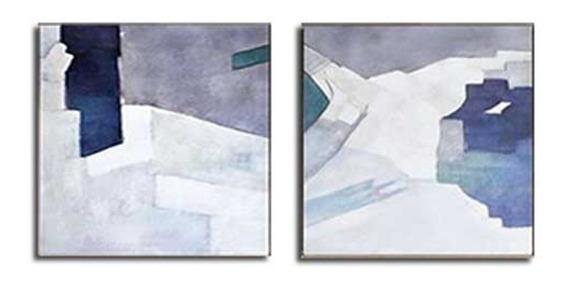 Quadro Pintura Tela Abstrato Azul Cinza Branco 2 De 1x1 Metr