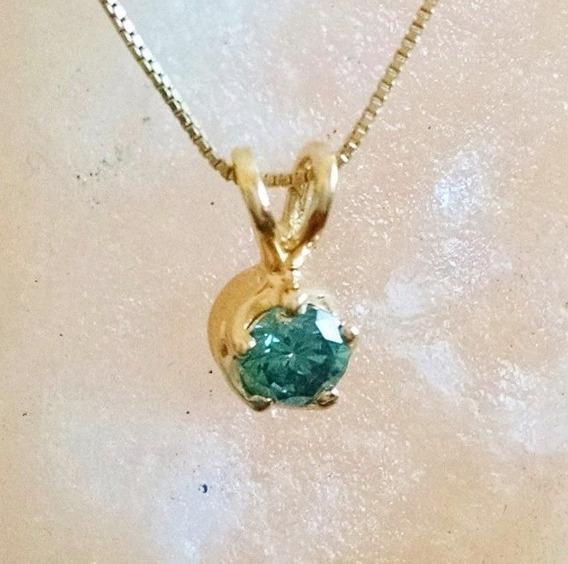 Dije Diamante Azul Solitario De .25ct Oro Sólido De 14k