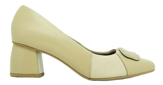 Sapato Usaflex Ac2503 Couro Liso Salto Joanete Conforto
