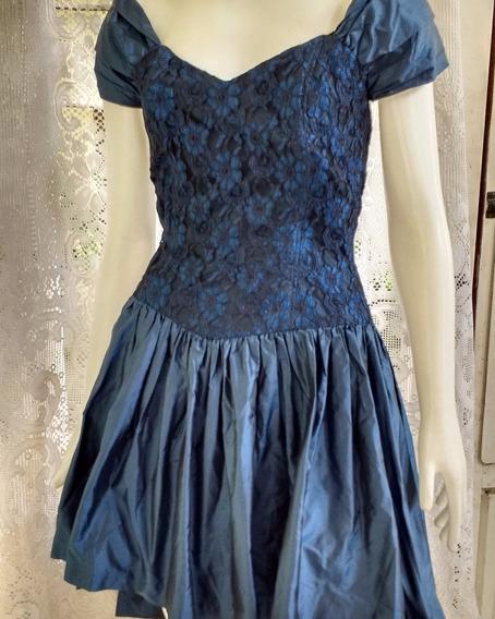 Vestido De Festa Azul Marinho Tafetá E Renda Tam 42 M 42x54