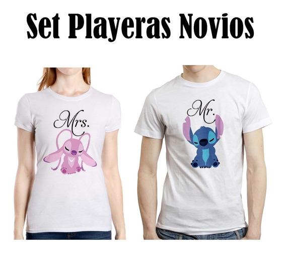 Set Novios Stitch Angel 3 Disney Playera Hombre Mujer Pareja