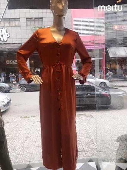 Vestido Longo Feminino Manga Longa Lindíssimo Outono Inverno