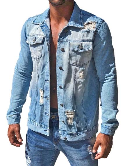 Jaqueta Jeans Slim Fit Masculina Destroyed Rasgada
