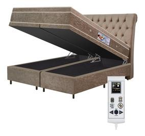 Colchão Magnético Queen Massageador Bio Cromo + Box Bau