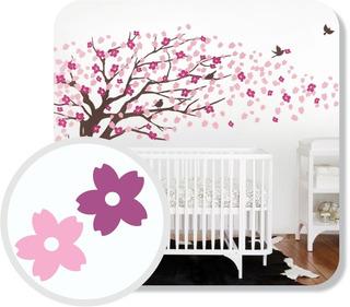 Adesivo Parede Decorativo Árvore Rosa E Lilás Linda