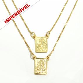 Escapulário Masculino Em Prata Folheado A Ouro 24k 60 Cm