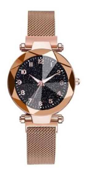 Relógio Feminino Moda Luxo Aço Inoxidável Fivela Magnética