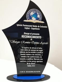 Placas De Reconocimiento En Acrílico 15cm . Trofeos Medallas