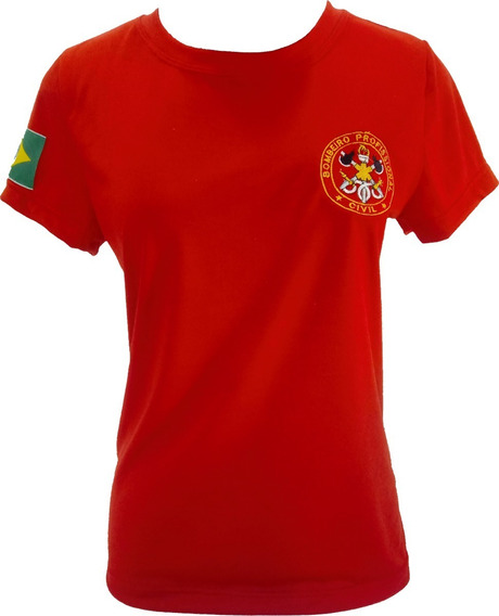 Camiseta Baby Look Feminina Bombeiro Civil Vermelha