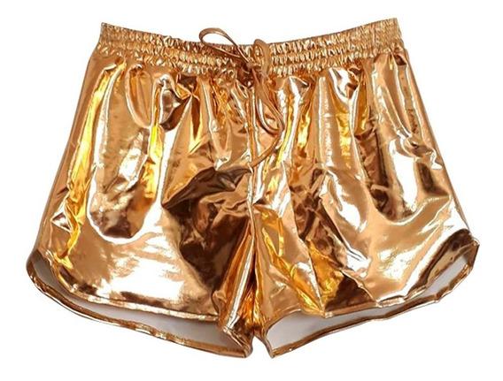 Short Metalizado Prata Dourado Cirre Brilho Cordão Hot Pants