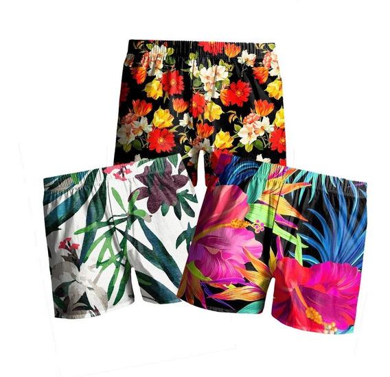 Kit C/ 3 Samba Canção Estampada Masculina Floral Praia Top
