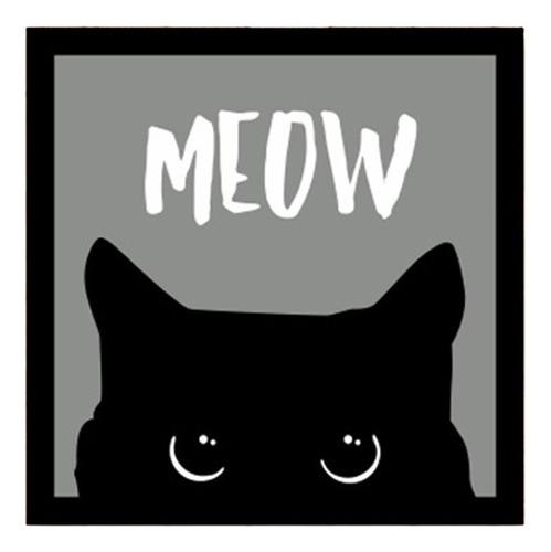 Placa Decorativa Criativa Gato Gatinho Preto Miau Meow V2