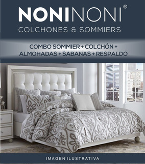 Combo Sommier Exclusive C/p + Respaldo + Sábana + Almohadas