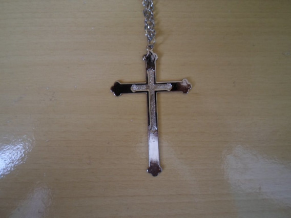 Corrente Colar Cordão Crucifixo Prateado Unissex