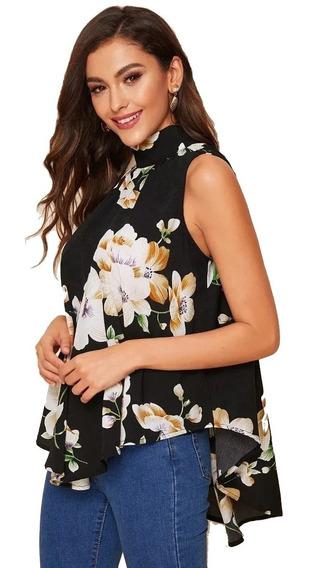 Tsuki Moda Japonesa Blusa Cuello Alto Flores Floral Elegante