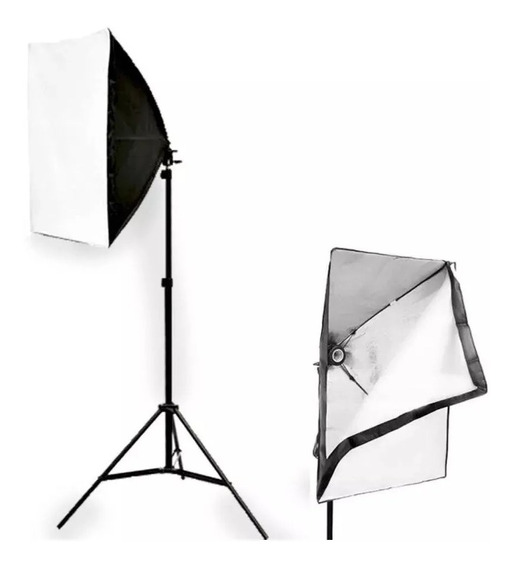 Kit Luz Youtuber 2 Softbox 50 X 70 E27 Luz + 2 Tripes 2m