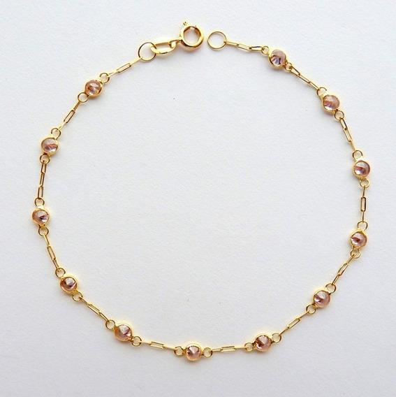 Pulseira De Ouro 18k Com Zircônias Rosa Suave 1819