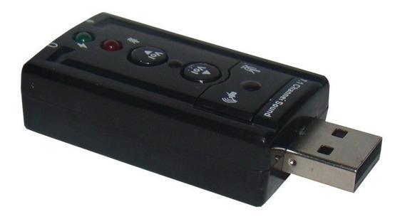 Adaptador Placa Som Usb 7.1 Entrada P2 P/ Fone Microfone