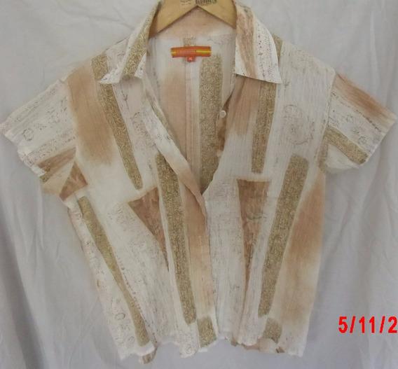 Camisa Importada Xl Combinada Forestal Impec Beige Blanca
