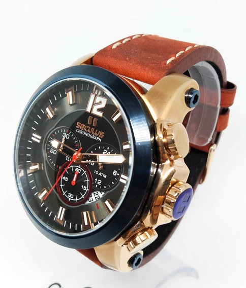 Relógio Seculus Masculino Cronógrafo De Couro 13027gpsvdc1