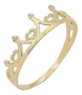 Anel Coroa Ouro 18k.