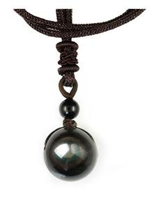 Colar Pedra Negra Obsidian Natural Pingente Bola Olho