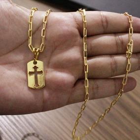 Corrente Masculina 70cm 3mm + Pingente Banhado A Ouro 18k