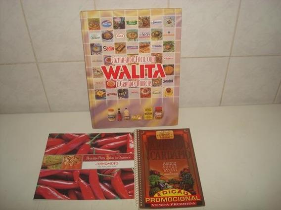 Kit 3 Livros Antigos De Receitas - Ajinomoto, Nestlé, Walita