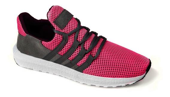 Calçado Rosa Pink De Corrida Caminhada Leve Academia Tênis