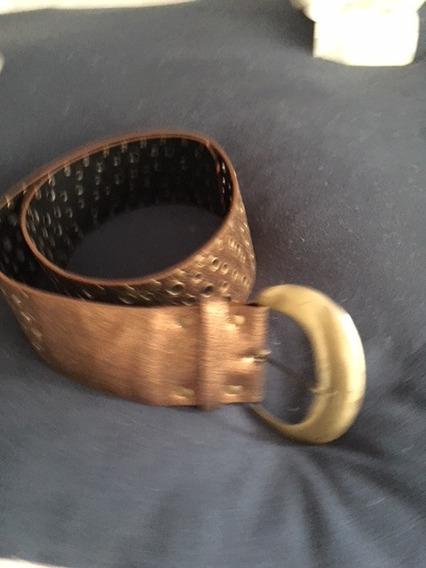 Cinturon Ancho Cuero Cobre , Hebilla Dorada