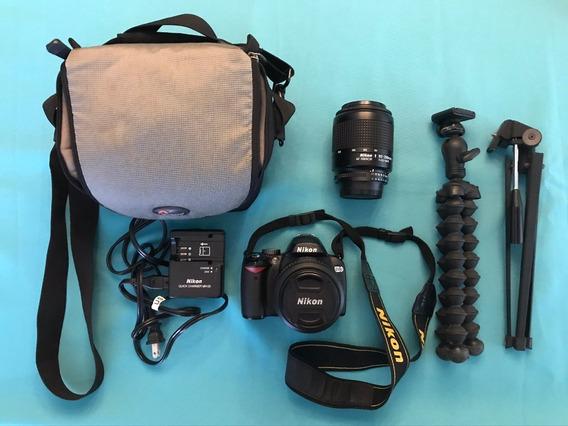 Camera Nikon D60 (corpo+2lentes+carregador+memory Card+case)