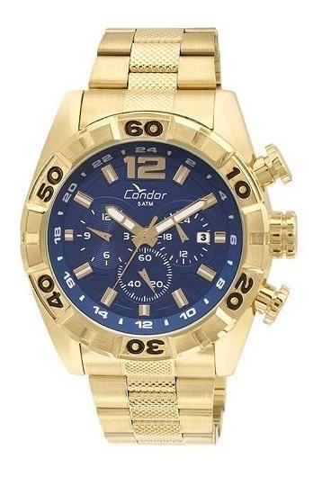 Relógio Condor Masculino Dourado Covd33aa/4a Azul Original
