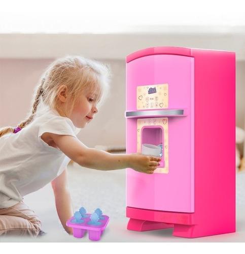 Geladeira De Brinquedo Infantil Grande - Rosa + Acessórios