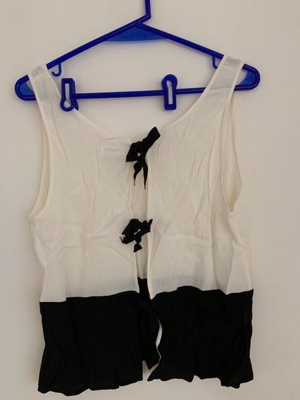 Remera Blanca Negra Musculosa Noche Urban Outfitters Verano
