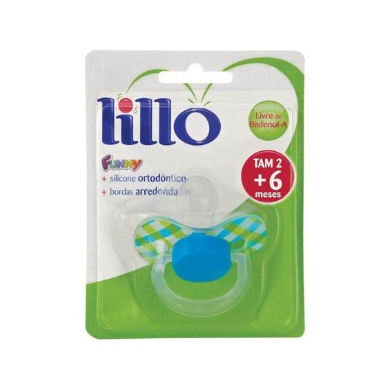 Lillo 649720 Funny Xadrez Chupeta Ort Silicone Azul Tam2