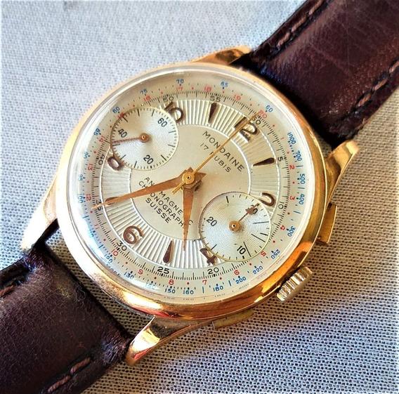 Chronograph Mondaine Anos 40 - Ouro 18kl - 12x Sem Juros !!!