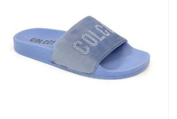 Slide Bianca Pérolas Com Tachas Azul Bluer - Colcci