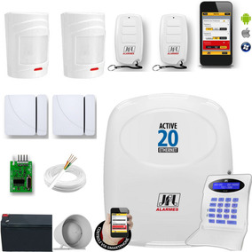 Kit Alarme Jfl Active 20 Ethernet E Kit Cerca Para 80 Metros