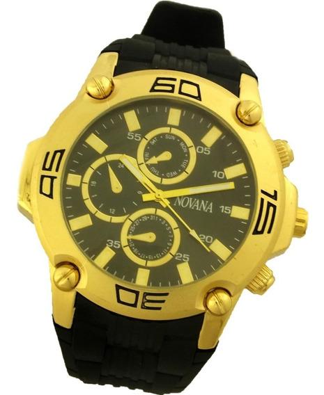 Relógio De Pulso Masculino Novana Pulseira Em Borracha B5723